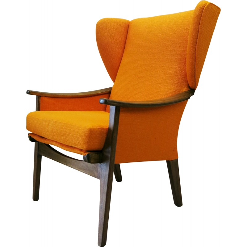 Parker Knoll Wingback Chair In Teak And Upholstered Orange Fabric 1960s