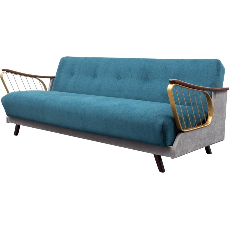Mid Century Sofa In Br And Velvet 1950s
