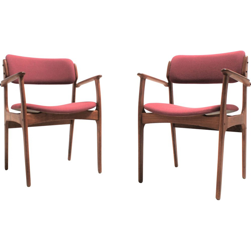 Pair of vintage armchairs by Erik Buch for O.D. Mobler scandinavian 1950s