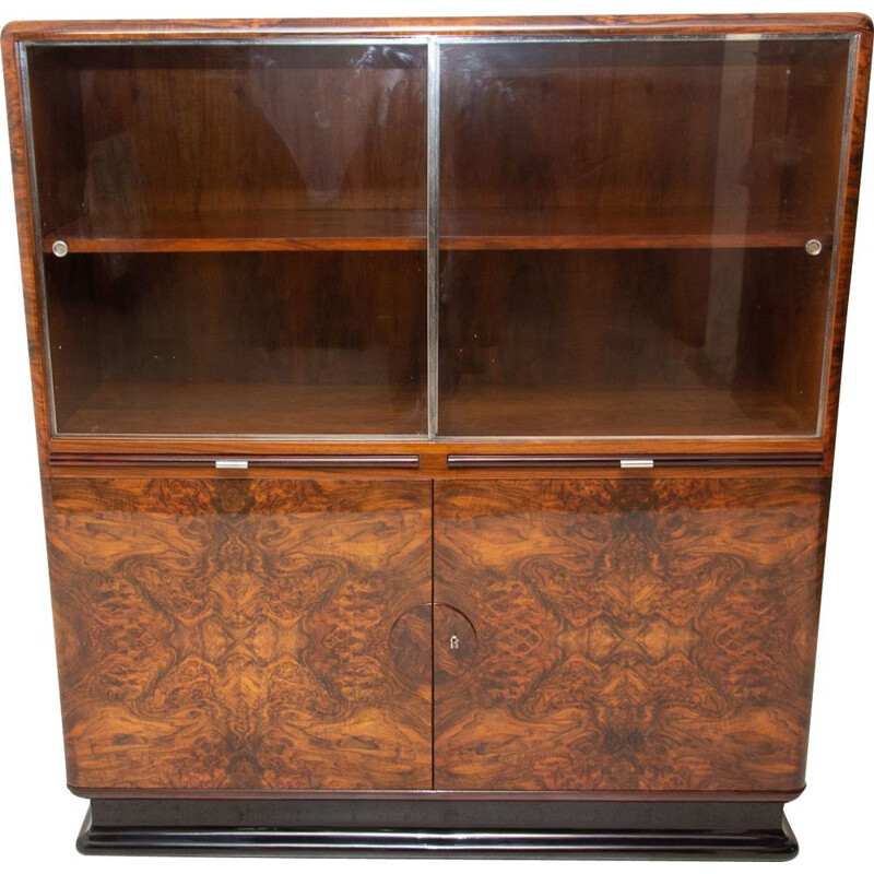Vintage display cabinet by Jindřich Halabala for ÚP Závody Art deco 1930s