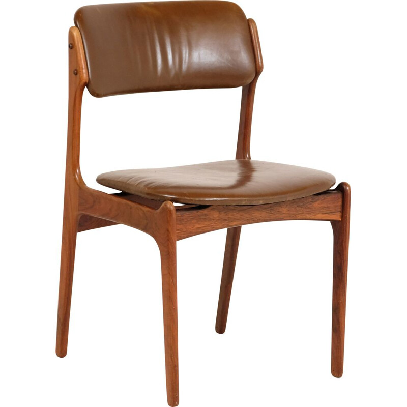 Vintage Rosewood Chair Leather by Erik Buck for Oddense Maskinsnedkeri 1960