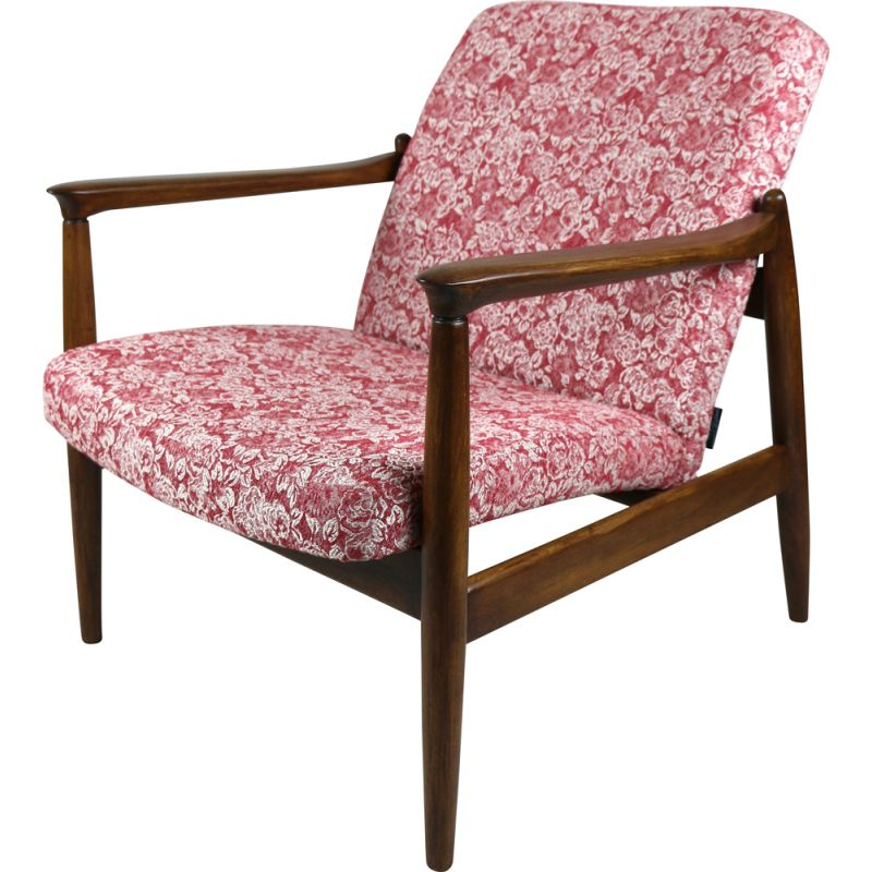 Vintage Red Rose GFM-064 Armchair by Edmund Homa 1970s