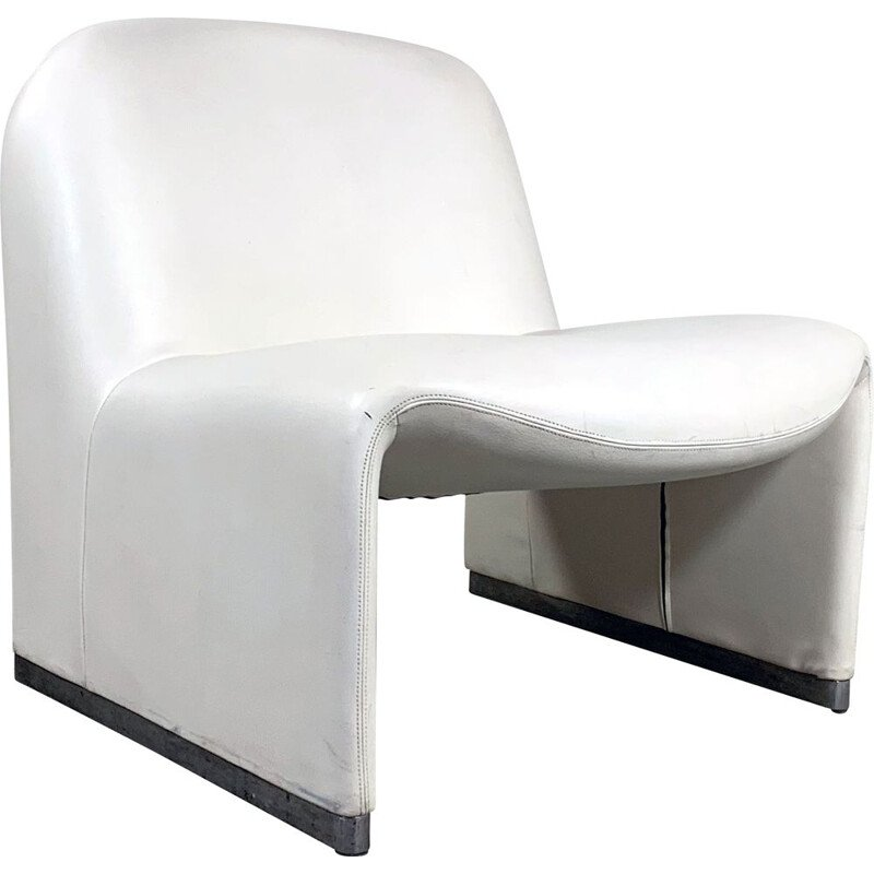 Vintage White Leather Alky Lounge Chair by Giancarlo Piretti for Castelli 1970s