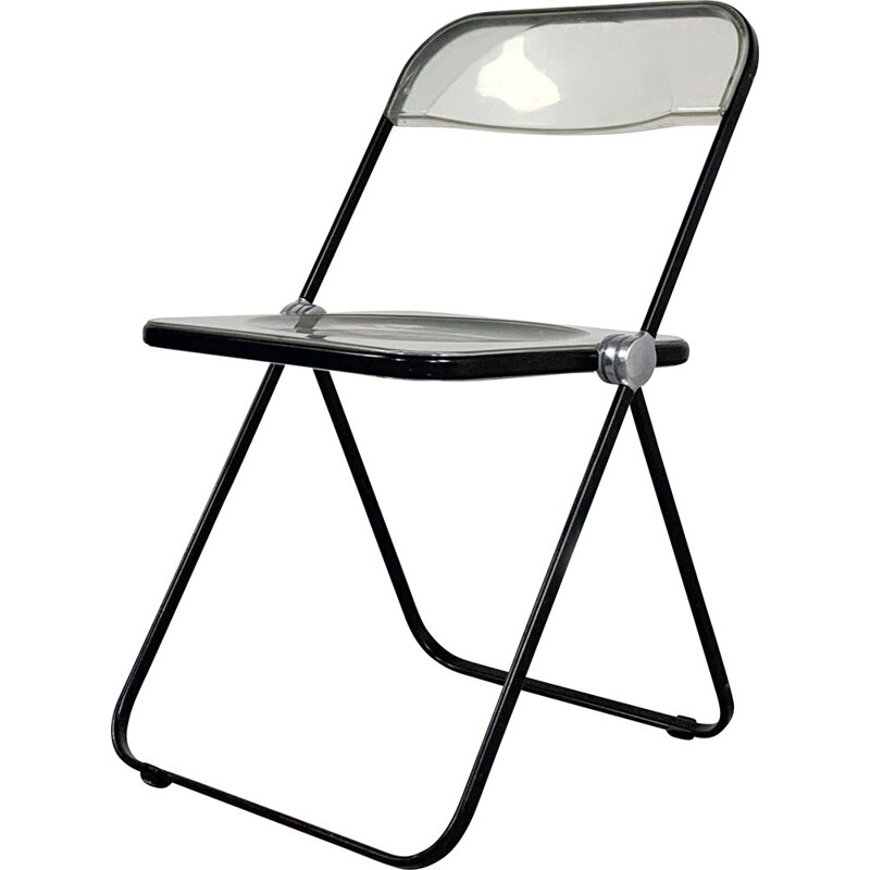 Vintage Black & Lucite Plia folding chair by Giancarlo Piretti for Castelli 1960s