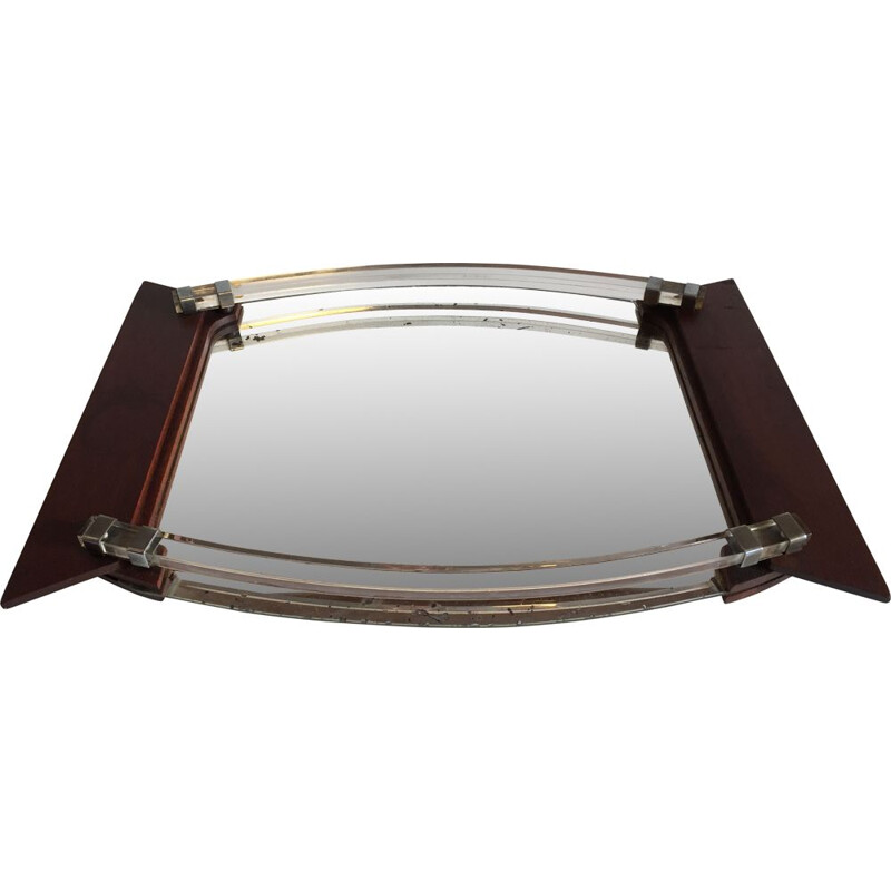 Vintage tray in mirror and Art Deco wood