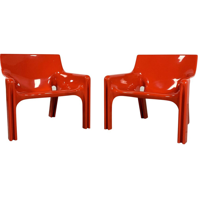 Pair of vintage Red Vicario Lounge Chairs by Vico Magistretti for Artemide 1970s