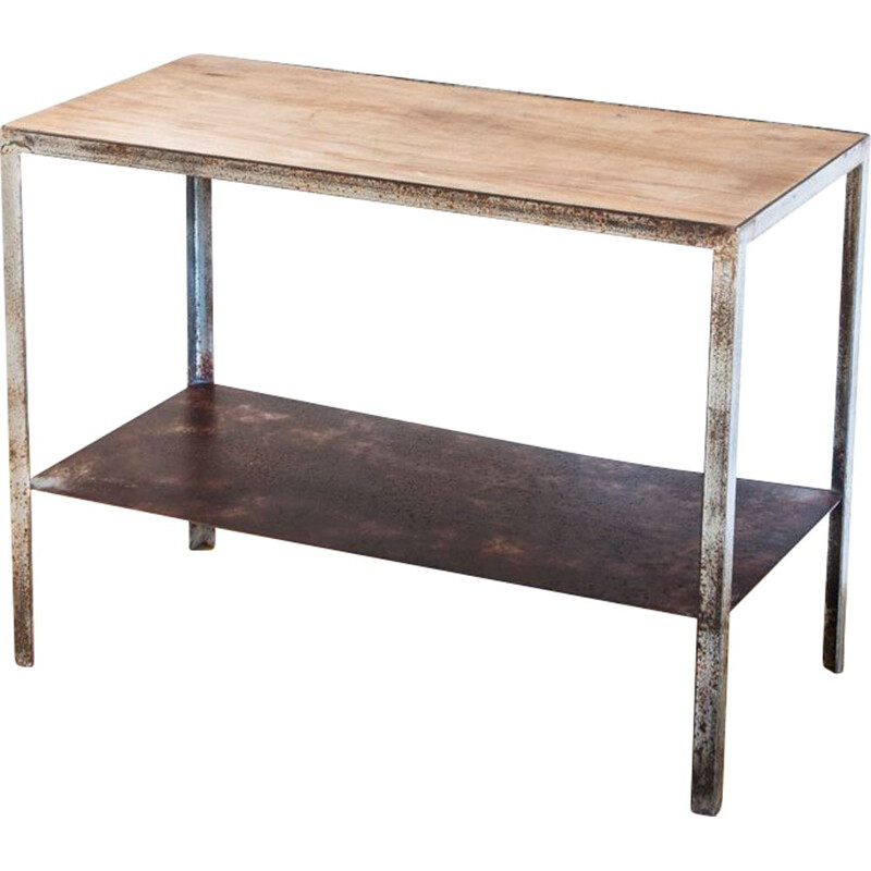 Vintage industrial iron and wood furniture, Spain 1970s