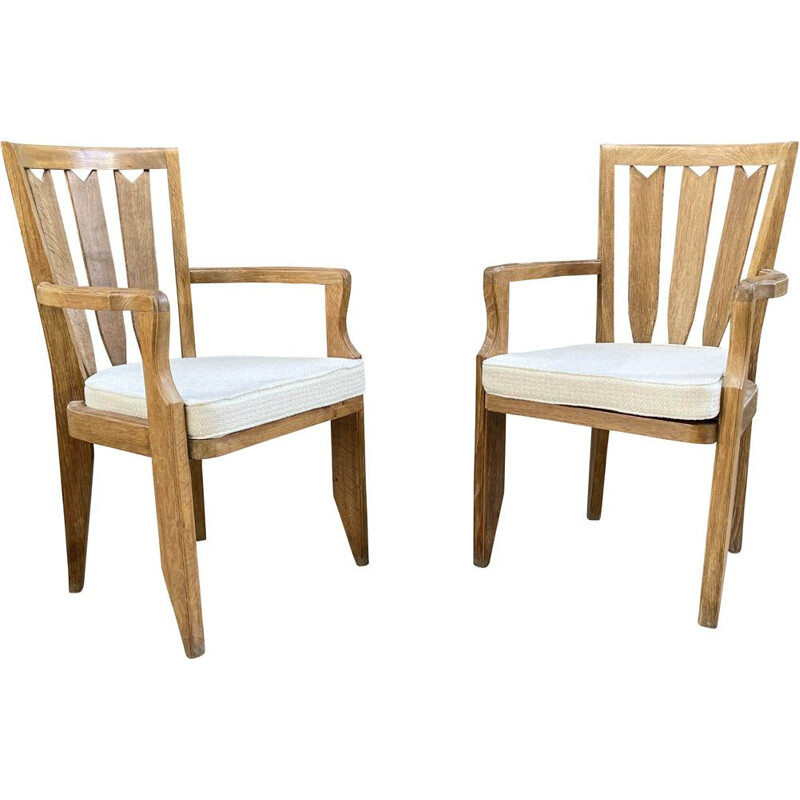 Pair of vintage oak armchairs by Guillerme and Chambron 1960s