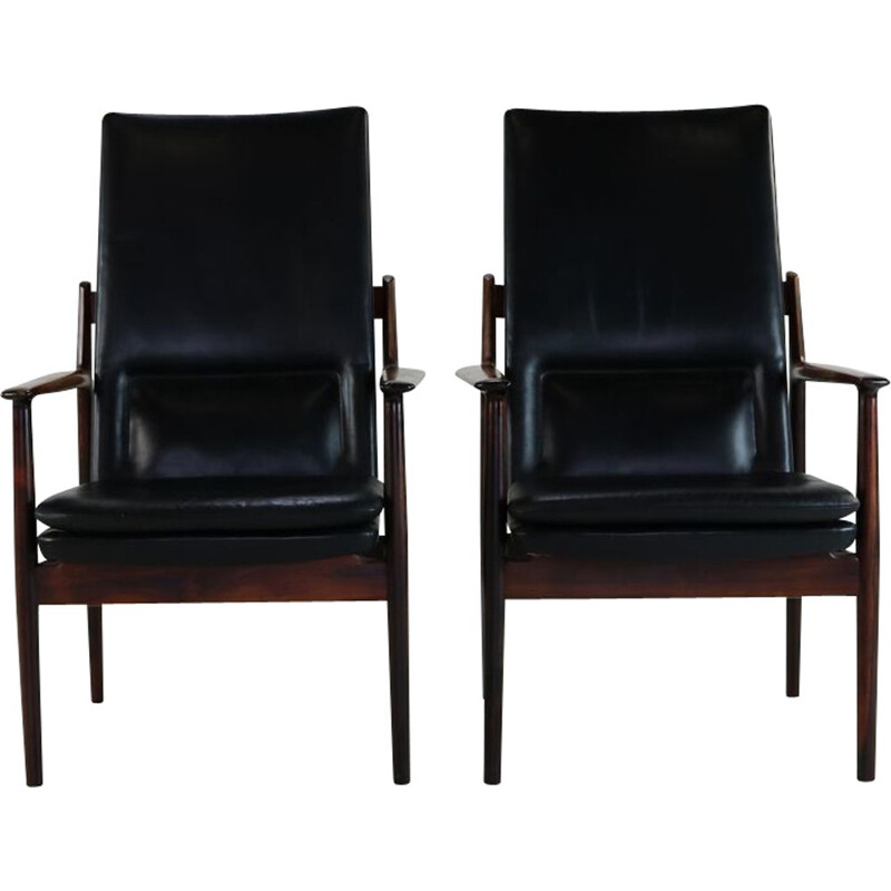 Pair of vintage armchairs in rosewood by Arne Vodder for Sibast Denmark