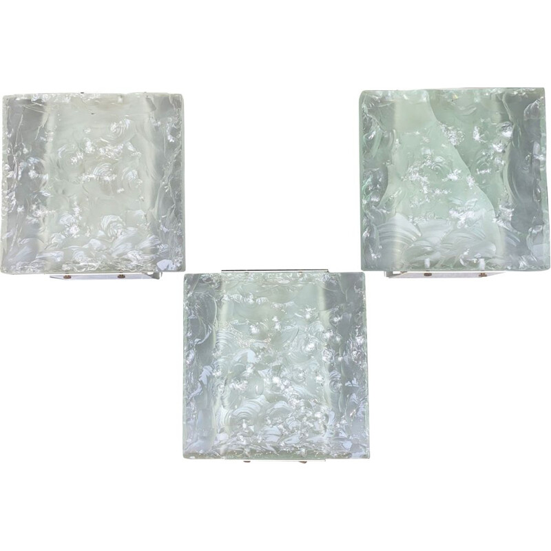 Set of 3 vintage crystal sconce by Max Ingrand for Luciano Fontana