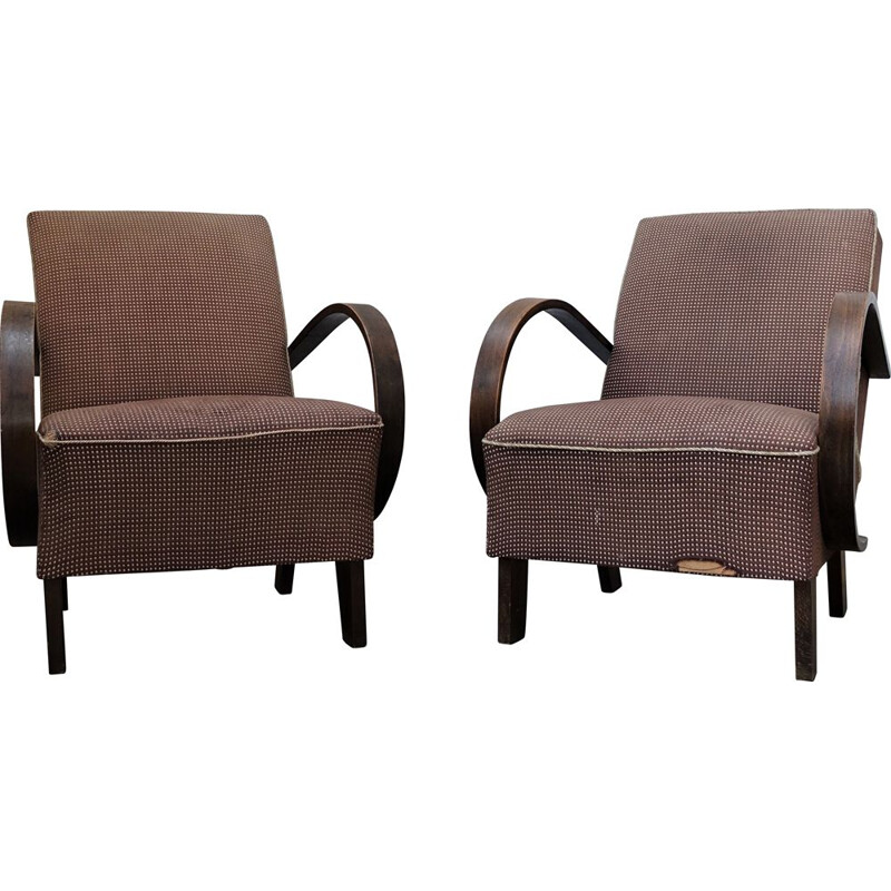 Pair of vintage armchairs by Jindrich Halabala & UP Závody 1930s