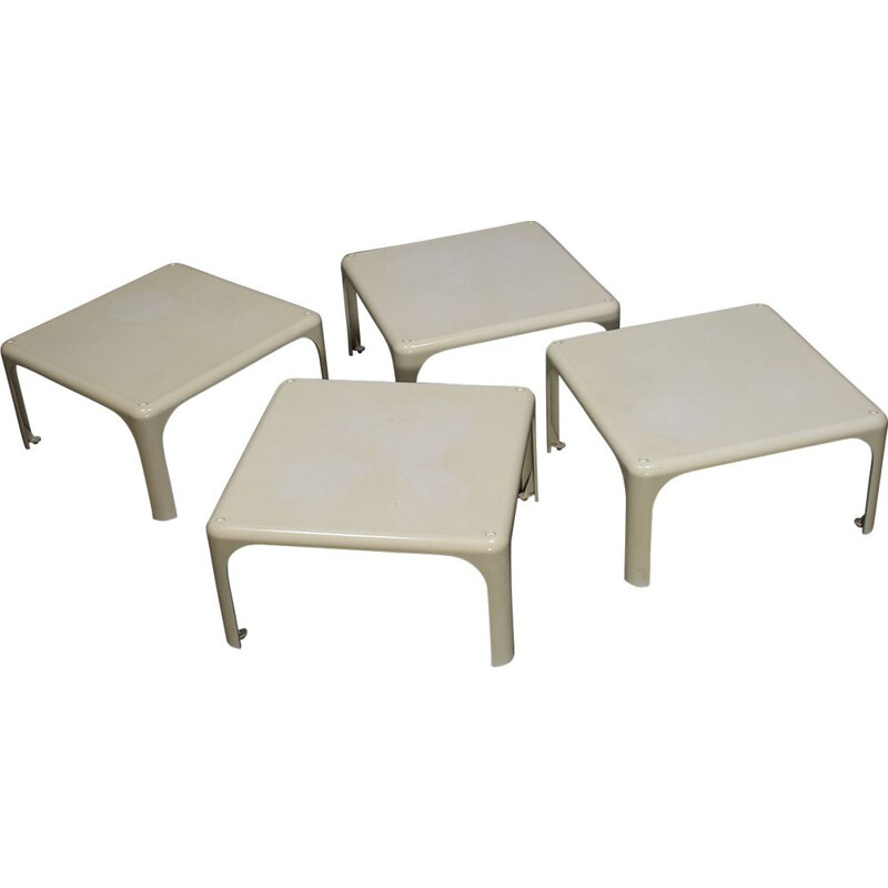 Set of 4 vintage side tables by Vico Magistretti for Artemide, Italy 1964s