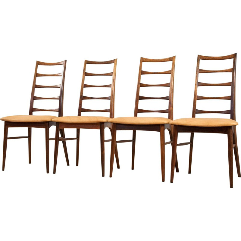 Set of 4 vintage Niels Kofoed dining chairs in rosewood an brown leather 1960s