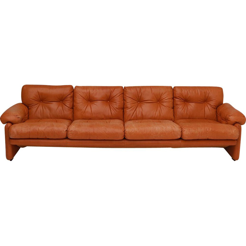 Vintage Tobia Scarpa cognac leather sofa B&B, Italia 1975s