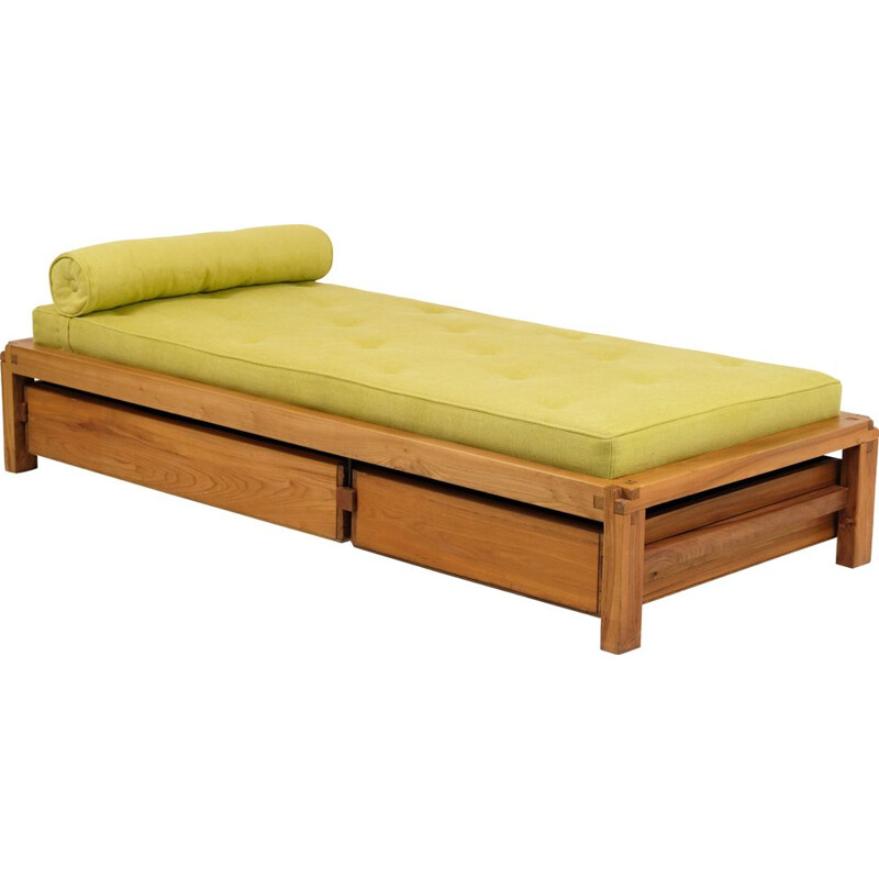 Vintage L03 bed by Pierre Chapo in Solid Elm 1960