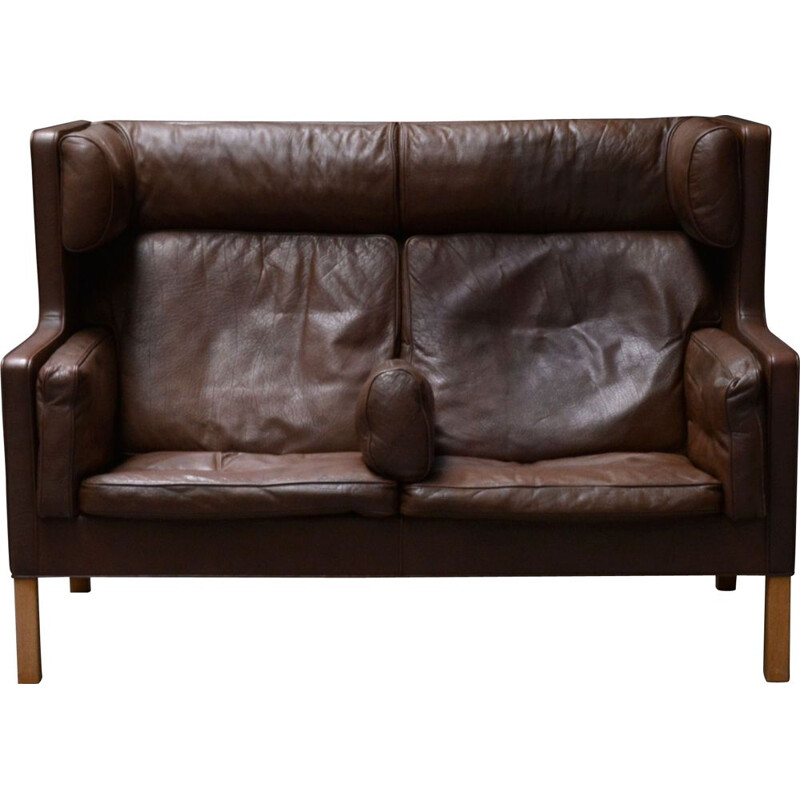 Vintage highback couch2192 Borge Mogensen brown leather sofa