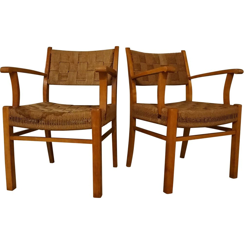 Pair of Vintage Armchairs Beechwood & Seagrass by Frits Schlegel for Fritz Hansen Danish 1940s