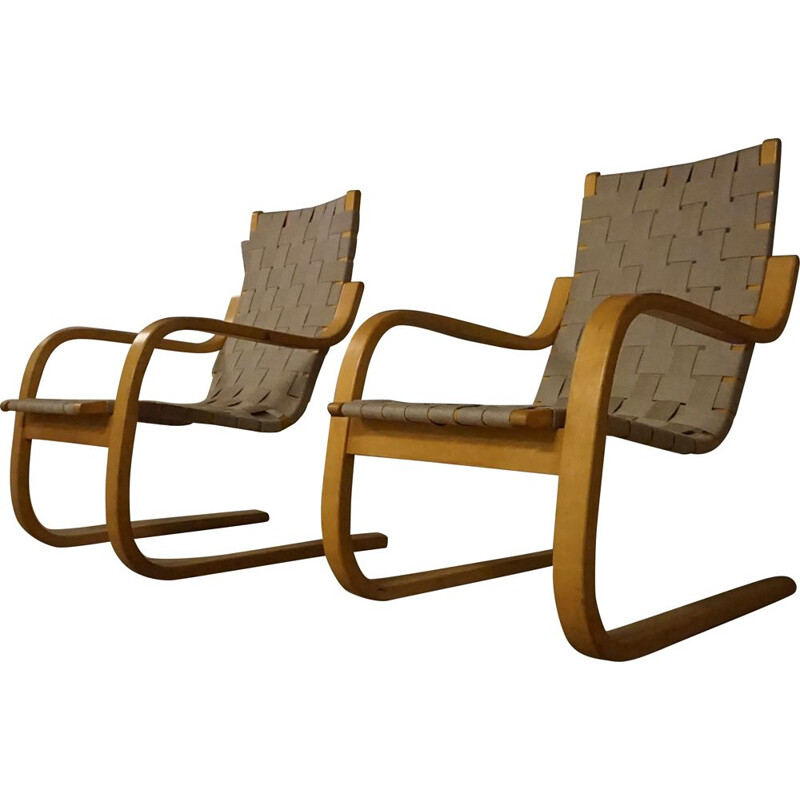 Pair of vintage Model 406 Armchairs by Alvar Aalto for Artek, 1960s