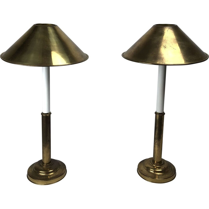 Pair of vintage brass and lacquer table lamps by Tommaso Barbi 1970