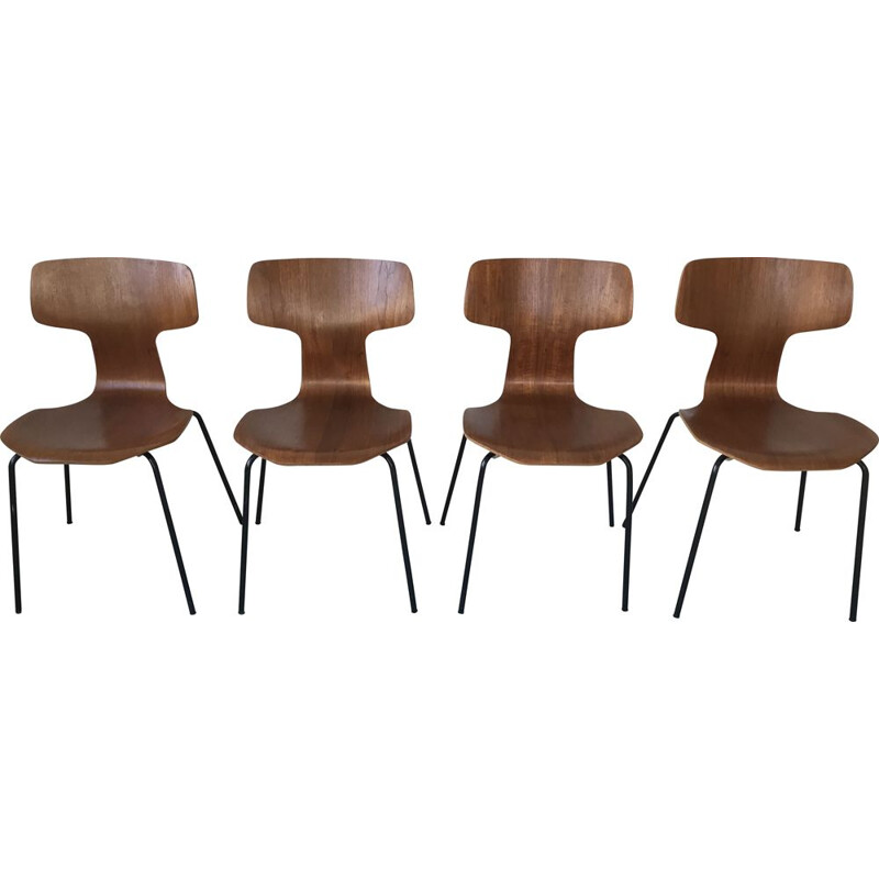 Set of 4 vintage Hammer chairs by Arne Jacobsen for Fritz Hansen 1970