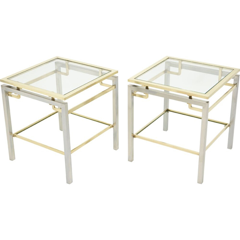 Pair of steel and brass vintage sofa ends by Guy Lefevre for the Maison Jansen 1970