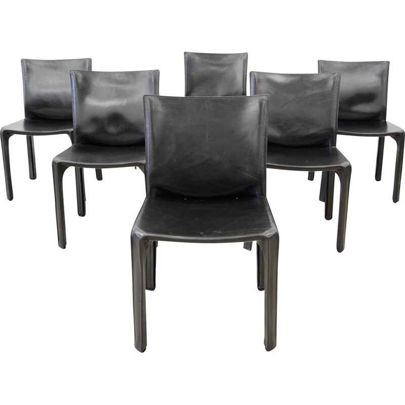 Lot of 6 vintage Cab 412 black leather chairs by Mario Bellini for Cassina 1980
