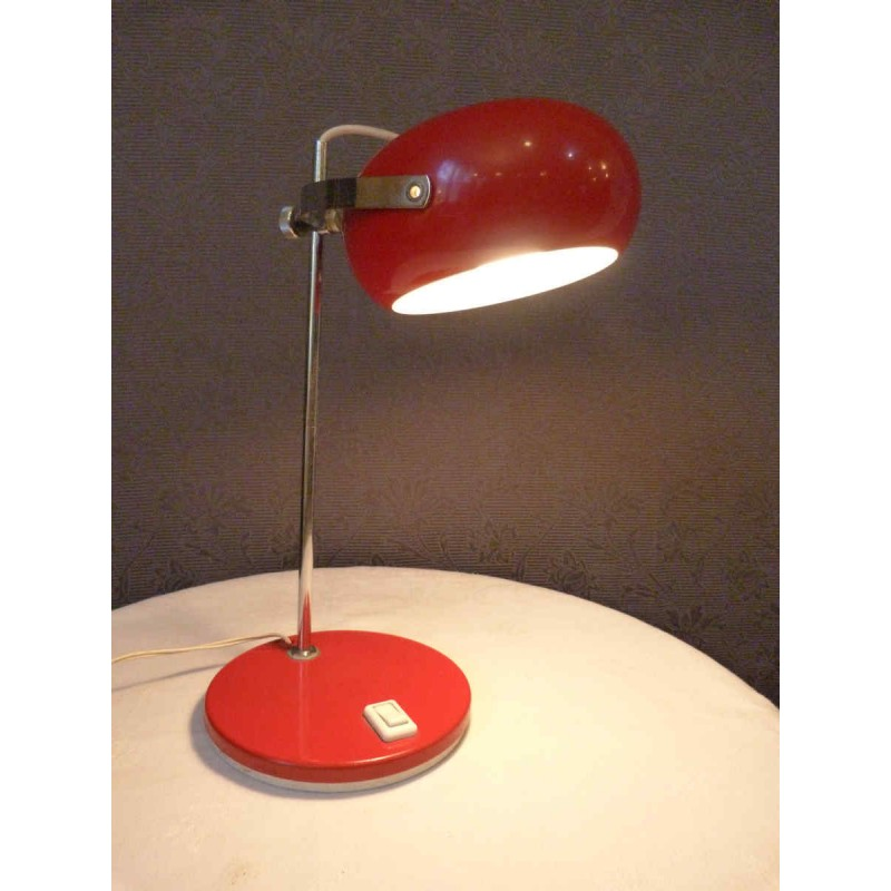 Italian Red Lacquered Metal Lamp 1950s Design Market