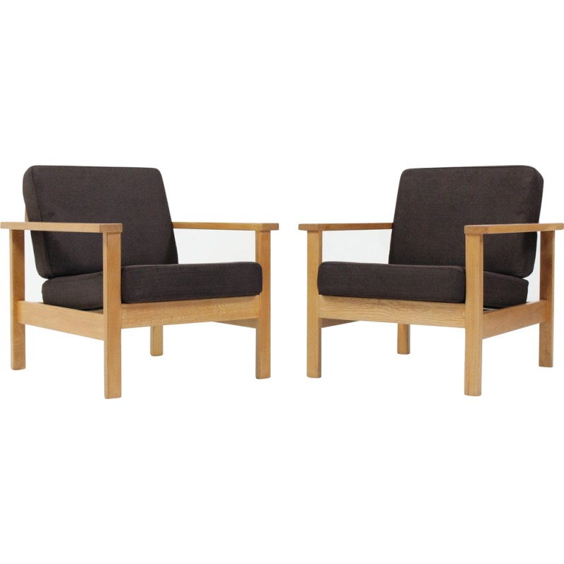 Set Of Two Armchairs In Fabric And Oak   1960s