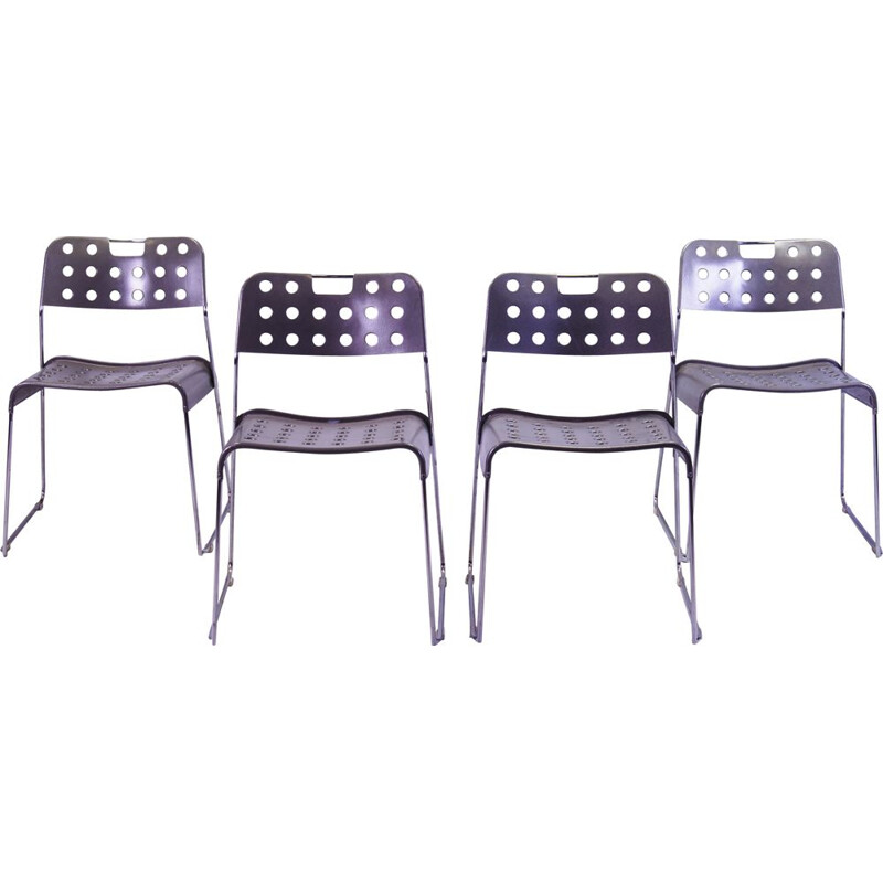 Set of 4 vintage Omstak Stacking Chairs by Rodney Kinsman for Bieffeplast 1970s