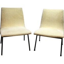 Pair of yellow low chairs, Pierre PAULIN - 1950s