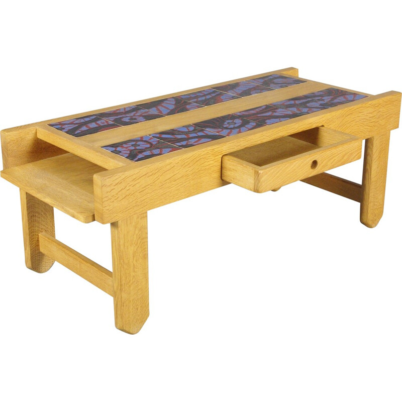 Votre Maison coffee table in wood and ceramic, GUILLERME & CHAMBRON - 1970s