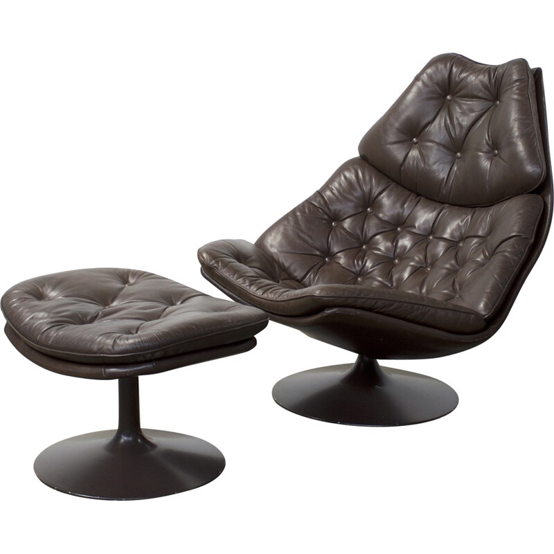 """Artifort """"F588"""" armchair with its ottoman in brown leather, Geoffrey HARCOURT - 1960s"""