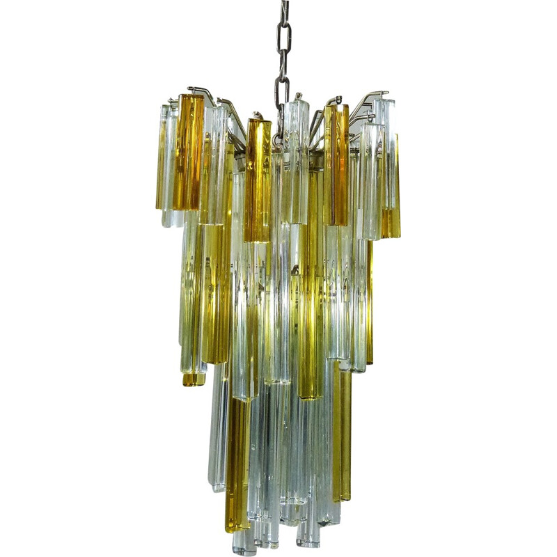Venini Italian Chandelier in glass and chrome - 1960s