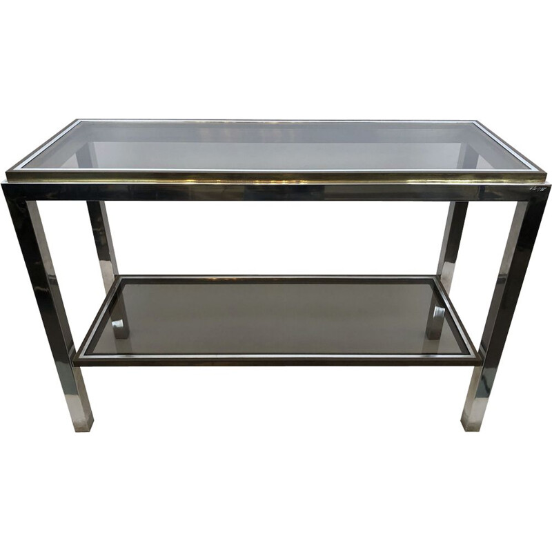 Vintage modern brass and chrome console table by Willy Rizzo Italian 1970s