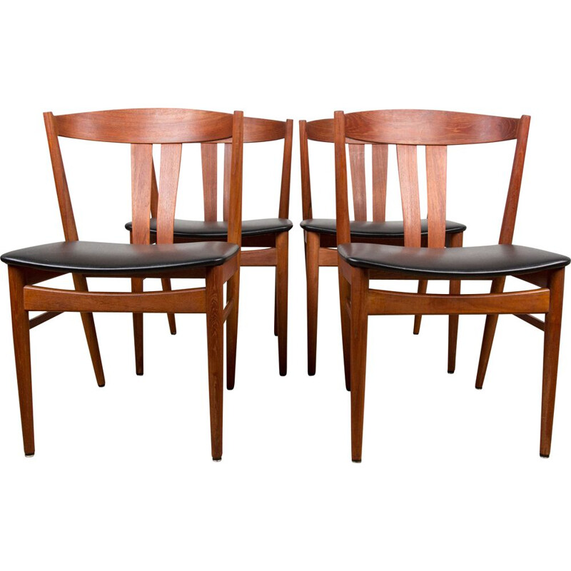 Set of 4 vintage teak and black skai chairs by Carl Ewent Ekström for Vejle Stole, Denmark 1960