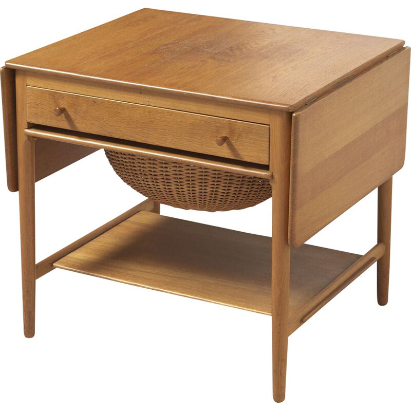 Vintage oak sewing table AT-33 by H. J. Wegner for Andreas Tuck, Denmark 1950