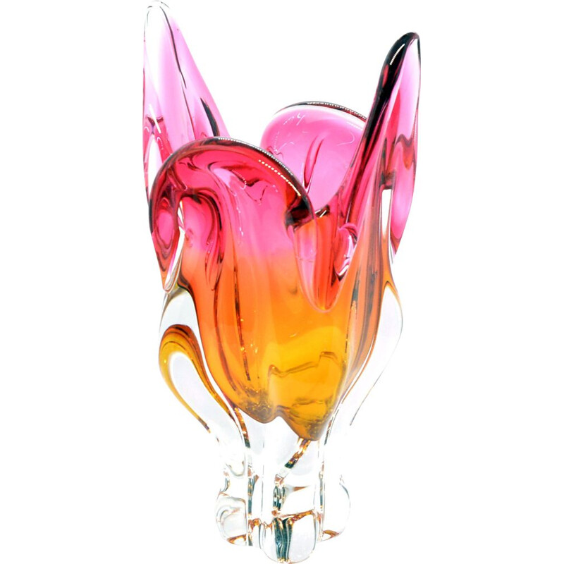 Vintage glass vase by J. Hospodka Chribska for Chribska Sklarna, Czechoslovakia 1960