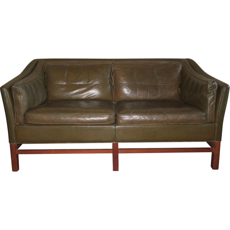Vintage 2 seater sofa in dark olive green leather and teak frame by Grant, Denmark 1960