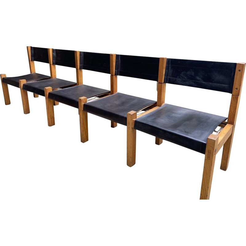 Vintage bench by Pierre Chapo for Charlotte Perriand 1969s