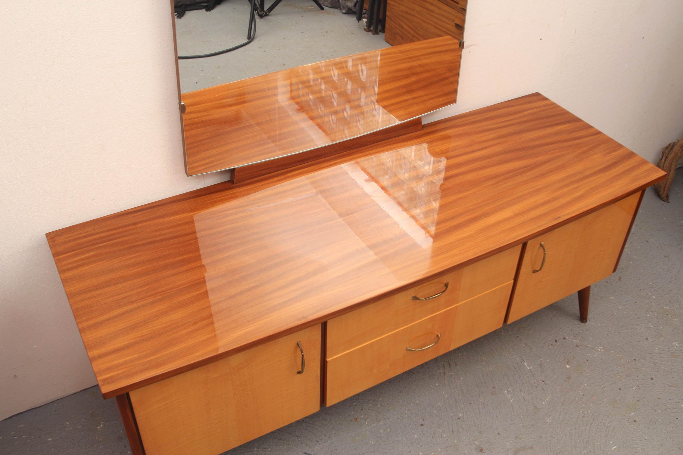 Table Dressing Wood 1950 Scarved ~ Dressing table in veneered wood with mirror s