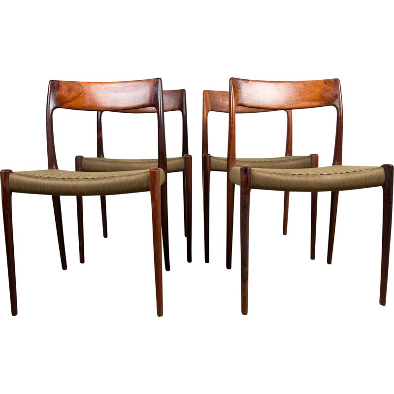 Set of 4 vintage chairs in Rio rosewood and cotton weave by N.O.Moller, Denmark 1960s