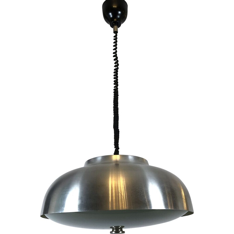 large vintage Oscar Torlasco for Lumi pendant light with adjustable glass, Italy 1950s