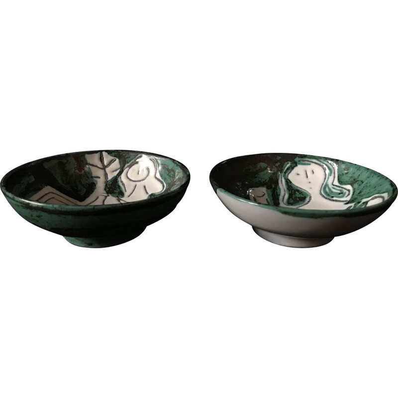 Pair of vintage ceramic bowls by Jacques Innocenti in Vallauris 1950s