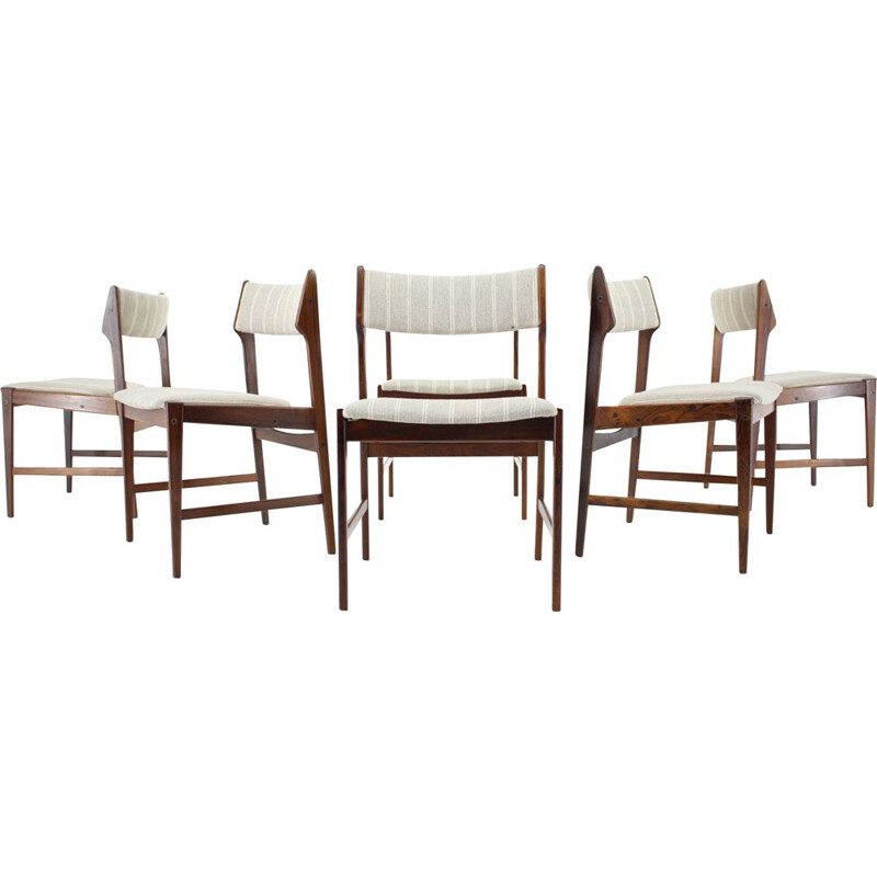 Set of 8 vintage solid rosewood chairs by Erich Buch, Denmark 1960s