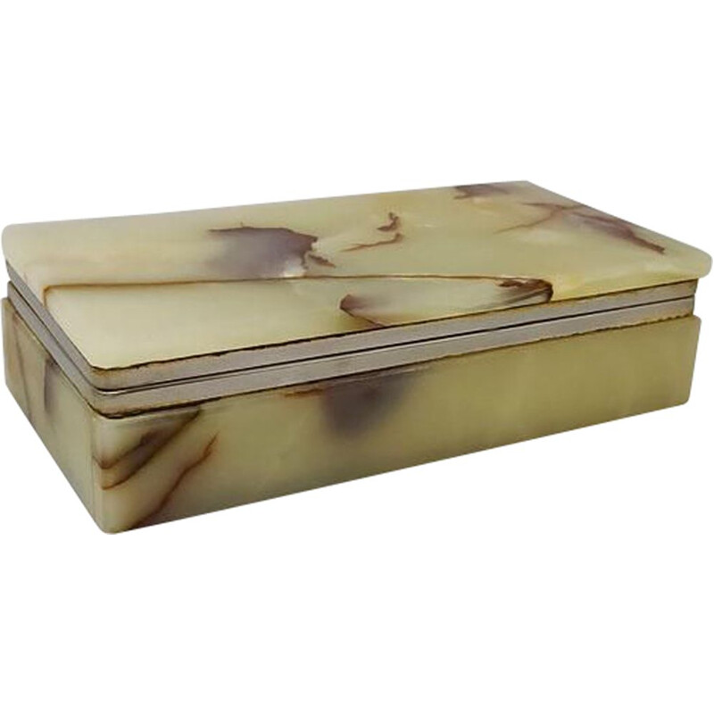 Vintage brown-green alabaster box, Italy 1960