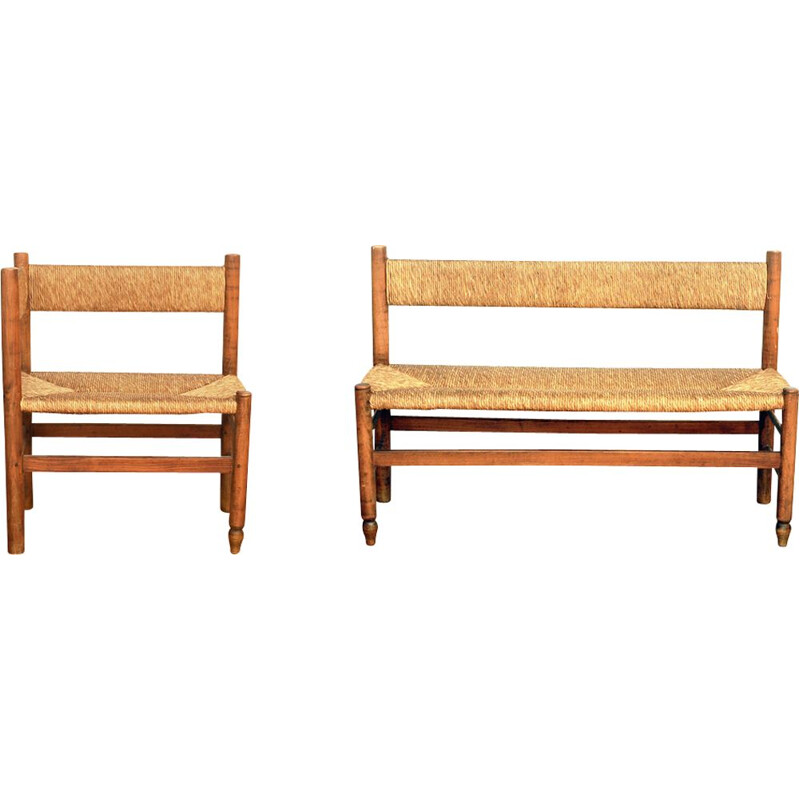 Vintage straight bench and its return in ash and straw 1960