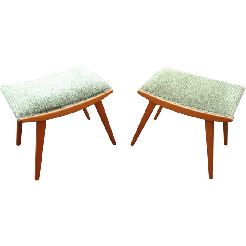 Pair of Ottomans or vintage solid beech footrests