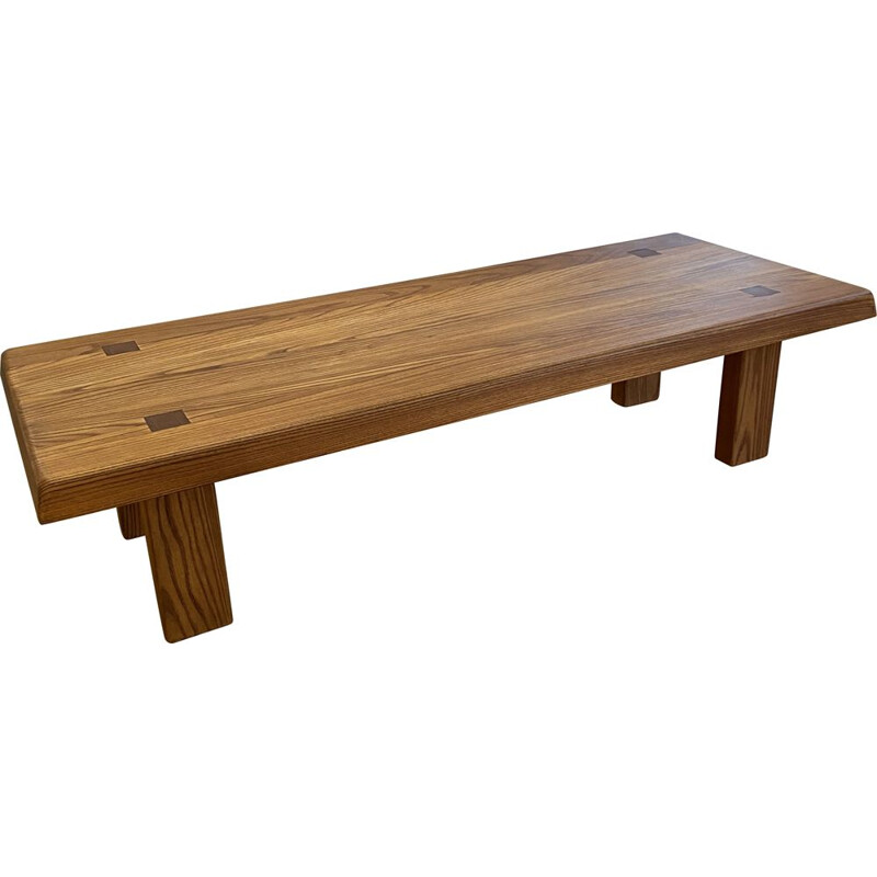 """Vintage elm coffee table """"T08"""" by Pierre Chapo 1950s"""