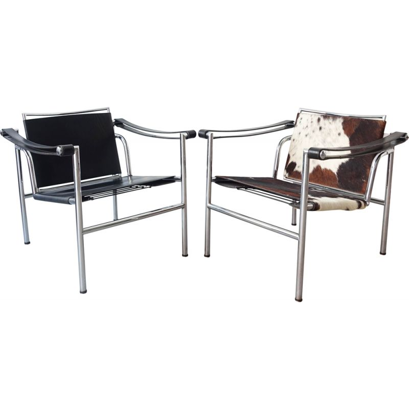 Pair of vintage Armchairs LC1 from Perriand Jeanneret and Le Corbusier 1970s