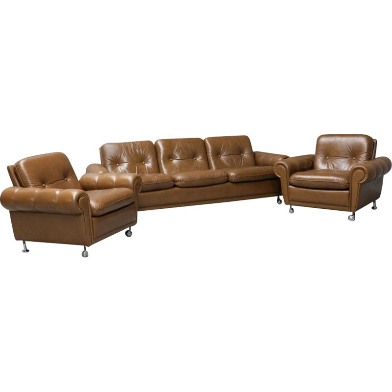 Vintage Leather Sofa With 2 Armchairs